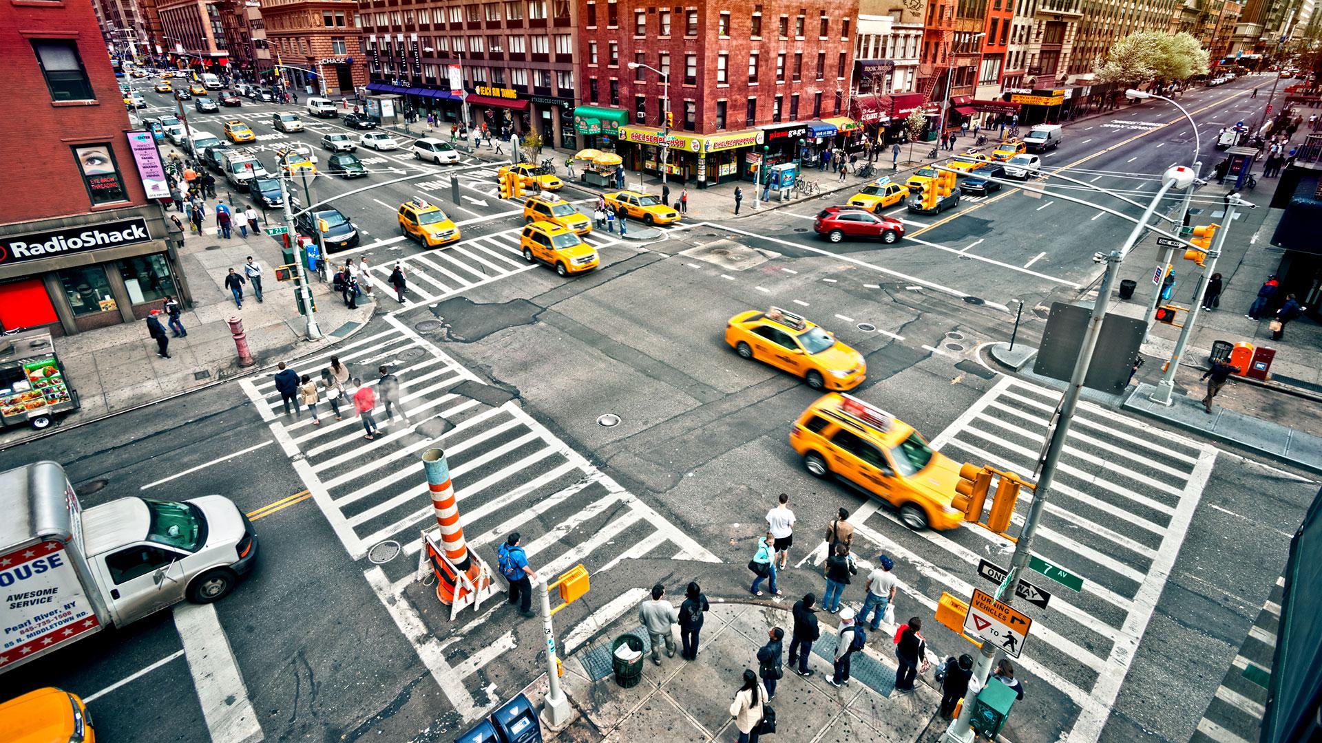 NYC crosswalk traffic